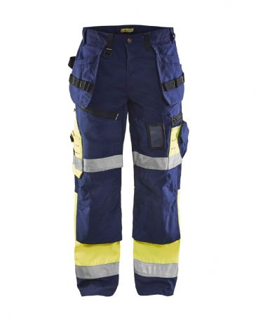 Blaklader 1508 High Visibility Trousers X1500 (Navy Blue/Yellow)